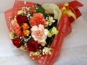 カーネーションとバラの花束 オレンジ、赤