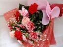 カーネーションとバラの花束 ピンク、赤