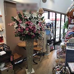 御祝スタンド花【ピンク&ホワイト】ホワイトブリキ