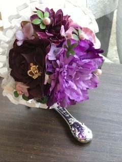 スタンド型アートフィシャルフラワージェンヌミラー紫