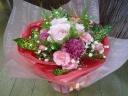 お母さんのカーネーションとバラの花束P