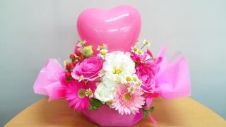 キャンディアレンジ+ミニハートバルーン(ピンク)