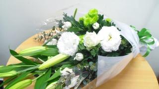 お供え花束(ホワイト&グリーン)