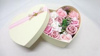 シャボンフラワーローズハートBOX/ピンク