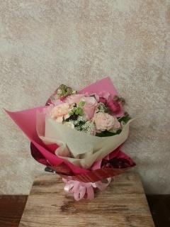 ★まるっこいパステルピンク系ブーケ風花束