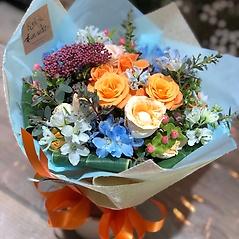 ★かわいい♪オレンジと水色のブーケ★