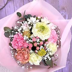 ブーケ風花束★ピンクと白のコロンとかわいいブーケ
