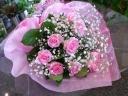 ☆ピンクローズとかすみのシンプル花束☆