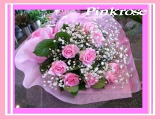 ☆ピンクローズとかすみのシンプル花束☆母の日♪
