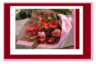 ♪赤バラとガーベラのシックでキュートな花束♪