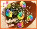 5レインボーローズとカスミソウの花束