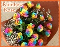 20レインボーローズとカスミソウの花束