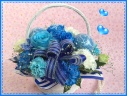 青いバラ&カーネーションのHAPPYバスケット