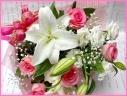 カサブランカとピンクバラの花束
