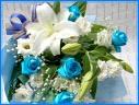 幸せ運ぶ…青いバラとカサブランカの花束