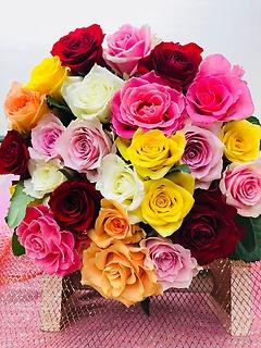 ☆カラフルなバラの25本花束☆