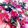 ハイブリットピンク系百合メインの花束