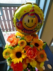Ballon with sunflower 名古屋市中区新栄のお花屋さん「LILAC AVENUE'91」フラワーギフトやお花の宅配ならイーフローラ