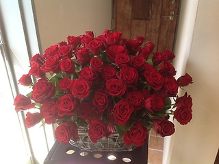 RED ROSES with Green