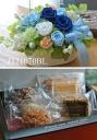 J121070BL*焼き菓子とプリザセット*ブルー