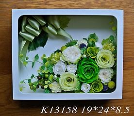 K13158*ダブルガラスフレーム*ホワイトグリーン*
