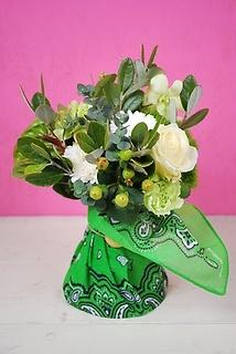 カリフォルニアスタイル花束 Bandana White/Green