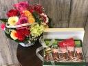 京都宇治濃茶と桜フィナンシェと可愛いアレンジメント