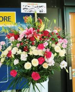 開店祝い・お祝いスタンド花(レッド系)