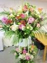 お祝いスタンド花・2段◆おしゃれなピンクパープル系
