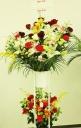 開店・お祝いスタンド花・2段◆「御祝カラーの紅白」