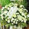 『白光』カサブランカと胡蝶蘭の供花アレンジ・大