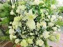 白バラとカサブランカの供花アレンジ・白青系