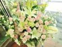 『Angel』ユリと白バラの供花アレンジ・白桃色