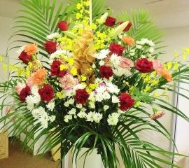 ◆御祝カラーの紅白◆開店祝いスタンド花・通常サイズ
