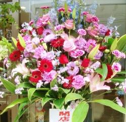 開店祝い・お祝いスタンド花(レッド・パープル系)