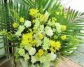 『光玉』ユリと菊の供花アレンジ・白黄系