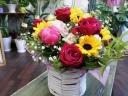 【ポップに】 ヒマワリとバラの花かご