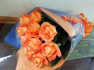 【されや】 オレンジバラの花束