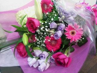 【上品に】 ダークピンクの花束