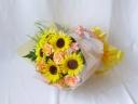 ひまわりとソリダコのブーケタイプ花束