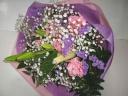 癒し系ピンク・バイオレッイトの素敵な花束