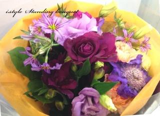 スタンディングブーケ パープルカラーのお花達
