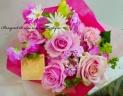 ロマンティックピンクのローズブーケ