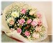 優しいピンクバラの花束