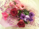 *ピンク・パープル系のお祝花束*
