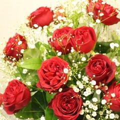 赤いバラとかすみ草の花束