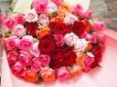 華やかミックスカラーのバラの花束