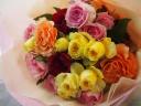 カラフルミックスなバラのブーケ