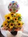 Happy birthdayバルーン&ヒマワリ