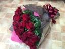 赤バラのシンプル花束